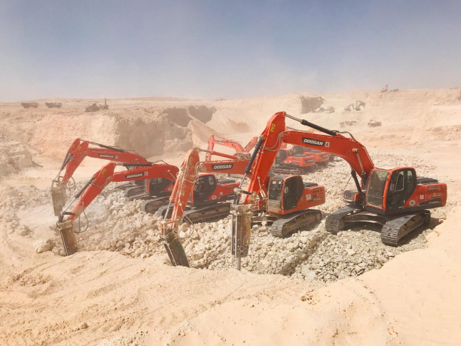 Doosan Infracore's market share in the Middle East rose to 13.4%, doubling since 2018